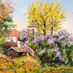 2012, Wiosna w Magdeburgu, Spring, Frühling, olej na płótnie, 30 x 40 cm.