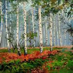 2013, Brzezina, Birch forest, olej na płótnie lnianym, 30 x 40 cm.