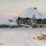 2018, Zima na wsi, Winter auf dem Lande, olej na  płótnie lnianym, 30 x 40 cm.