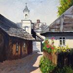 2015, Lato na wsi, Sommer im Dorf, olej na kartonie, 24 x 30 cm.