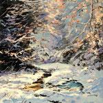 2012, Zima w lesie, olej na płótnie, 30 x 40 cm. Winter in the forest, 冬季森林