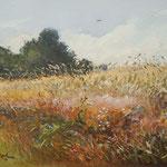 2014, Lato na wsi, Sommer auf dem Lande, olej na płycie, 29 x 39 cm.