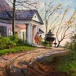 2012, Jesien w Serbinowie, olej na płótnie, 30 x 40 cm. Autumn in Serbinow.