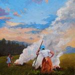 2013, Ogniska, olej na płótnie lnianym, 30 x 40 cm.