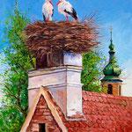 2009, Bociany, Storche, olej na płótnie. 38 x 48 cm.