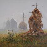 2014, Mgła, Nebel, Fog, olej na płótnie lnianym, 30 x 40 cm.