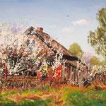 Wiosna, olej na płótnie, 24 x 30 cm. 春,