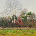 2016, Pejzaż z brzozami, Landschaft mit Birken, olej na płótnie, 25 x 35 cm.
