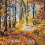 2014, Jesień w lesie, olej na płótnie lnianym, 41 x 60 cm. 秋