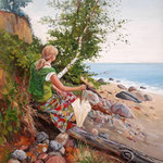 2014, pod klifem w Orłowie, olej na sklejce, 30 x 40 cm. Bozena, on  the beach in Orlowo.,  夏