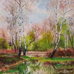 2013, Wiosna w lesie, olej na płótnie lnianym, 30 x 40 cm.