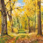 2012, Jesienny las, olej na płycie, 32 x 40 cm,
