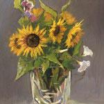 2015, Słoneczniki w szklanej wazie, olej na sklejce, 30 x 40 cm.