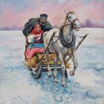 2011, Sanna, olej na płótnie, 30 x 40 cm.  Зима, снег, лошади, девушка, сани, 冬天,雪,马,女孩,雪橇