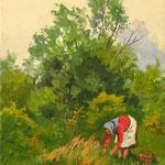 2017, Grzybobranie, olej na płótnie lnianym, 24 x 30 cm.
