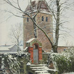 2016, Kościół wiejski w Löhme, Dorfkirche in Löhme bei Berlin, olej, płótno lniane, 39 x 59 cm.