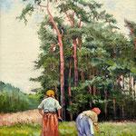 2010, Kobiety zbierające zioła, olej na płótnie, 25 x 35 cm.