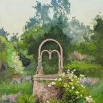 2017, Ogród ze studnią, Garten mit Brunnen, olej na płótnie lnianym, 30 x 40 cm.