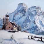 2014, Zima w Dolomitach, olej na płótnie lnianym, 40 x 50 cm. 冬季,雪,村