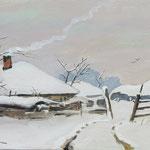 Zima na wsi, Winter auf dem Land, olej na sklejce, 20 x 30 cm.