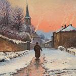 2013, Zimowy wieczór, Winterabend, olej na płycie, 28 x 35 cm. 冬季,雪,村