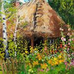 2011, Wiejska chata, olej na płótnie, 24 x 30 cm,
