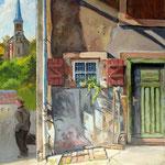 2013, Poranek w Petite Rosselle, Morgen in Petite Rosselle, olej na sklejce, 30 x 40 cm.