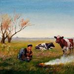 2008, Pasterz, olej na płótnie, 30 x 40 cm.