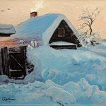 2012, Zima na wsi 12, olej na płótnie, 24 x 30 cm. 冬季在農村, Winter in the countryside, Зима, снег, деревня, 冬季,雪,村