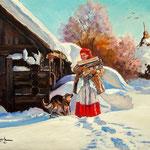 2012, zima na wsi 11, olej na płótnie, 30 x 40 cm. Winter in the countryside, Зима, снег, деревня, 冬季,雪,村