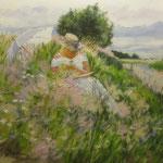 2009, Lektura na łące, olej na płótnie, 24 x 30 cm.