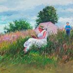 2008, Lektura, olej na płótnie, 40 x 50 cm.