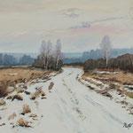 2019, Pejzaż zimowy, winter landscape, Winterlandschaft, olej na płótnie, 30 x 40 cm.