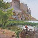 2014, Pejzaż z ruinami zamku, Landschaft mit Schlossruinen, olej na płótnie lnianym, 30 x 40 cm. 夏