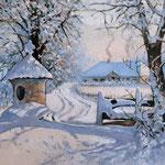 2014, Zima w Serbinowie,  olej na płótnie lnianym, 30 x 43 cm. 冬季,雪,村