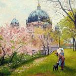 2014, wiosna w Berlinie, olej na płótnie lnianym, 40 x 50 cm.