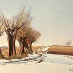 2015, Przedwiośnie, Early spring, Vorfrühling, olej na sklejce, 30 x 40 cm.