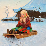 2013, Dziewczynka na sankach, a little girl on the sledge, olej na płótnie lnianym, 24 x 30 cm.