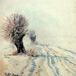2013, Śnieg 2, olej na kartonie, 24 x 27 cm. Schnee 2, Snow 2