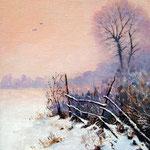 2011, zima na wsi 7, olej na płótnie, 24 x 30 cm. Зима, снег, деревня