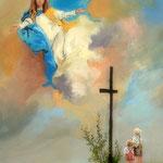 2016, prośba do Matki Bożej, olej na sklejce, 34 x 49 cm.