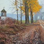 2014, Wiejska droga, Country road, olej na sklejce, 30 x 40 cm.