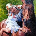2011, dziewczyna i koń, olej na płótnie, 30 x 40 cm.