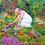2009, U Ani w ogrodzie, olej na płótnie, 40 x 50 cm.