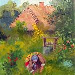 2014, w ogrodzie/im Garten, olej na płótnie lnianym, 24 x 30 cm.