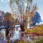 2010, Jesień nad jeziorem, olej na płótnie, 30 x 40 cm.