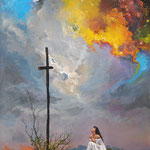 2015, Modlitwa, Gebet, Praying, olej na płótnie lnianym, 65 x 85 cm.