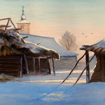 2011, zima na wsi 6, olej na płótnie, 30 x 40 cm. Winter in the countryside, 冬季在農村, Зима, снег, деревня, 冬季,雪,村