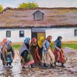 2011, Dawniej na wsi, olej na płótnie, 30 x 40 cm.