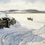 2017, Zima na kresach wschodnich, Winter im Osten, olej na płótnie lnianym, 40 x 50 cm.